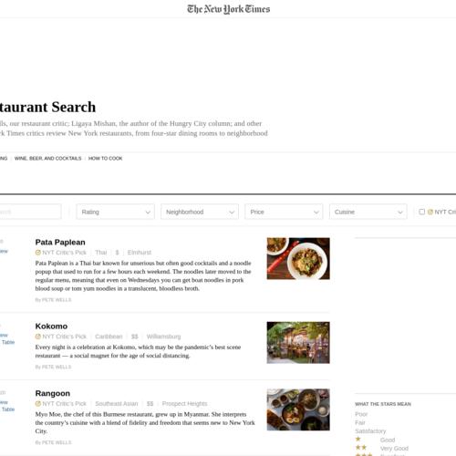 NYT Restaurant Reviews